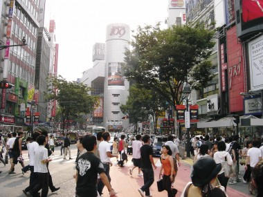 The major intersection in Shibuya, Tokyo, Japan. Kind of like the Times Square of Tokyo.