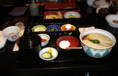 The Japanese often present their food in a really lovely way in both restaurants and homes. This is a beautiful bento box lunch I had. Oh and if you have something like this: you can go ahead slurp from that soup on the right!