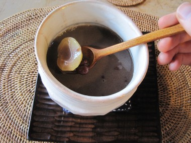 Dessert at Yaokan, Kyoto, Japan - adzuki bean and chestnuts in sweet soymilk.