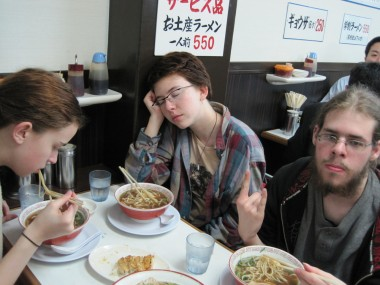Eating ramen near Kyoto Station after a long day in Tokyo.