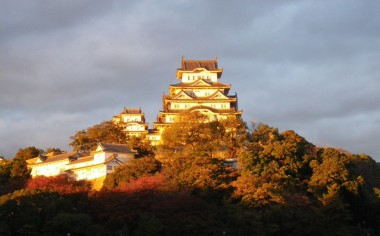 Himeji - View of Himeji Castle as the sun sets on an autumn day in November, 2009.
