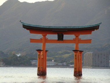Hiroshima - Miyajima Tori - Miyajima Gate at high tide. (This photo was taken by Tomoko