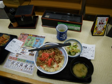 Yoshinoya donburi: rice with meat on top plus some pickled ginger, cabbage, and miso soup with free warm green tea - all for just ¥600! (about six bucks)
