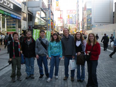 "The Worldschool Travel Tour group of homeschoolers/unschoolers in Ahkihabara ""Electric Town"" in Tokyo, Japan!"