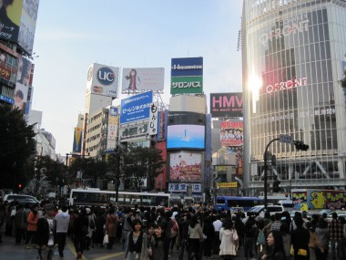 Shibuya intersection - the Times Square of Tokyo, Japan - another view.