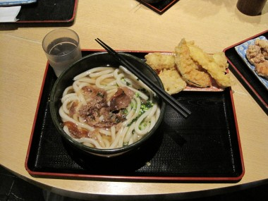 Udon noodles in broth with pork on top and tempura one the side - deep fried squash, squid, lotus root, and fish cake.