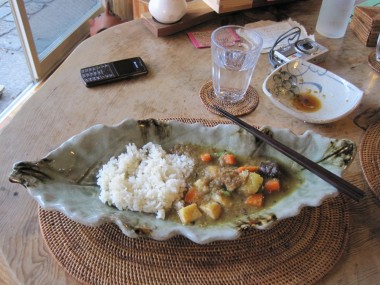 Vegetable curry and organic white rice at Yaokan Restuarant, Kyoto, Japan.