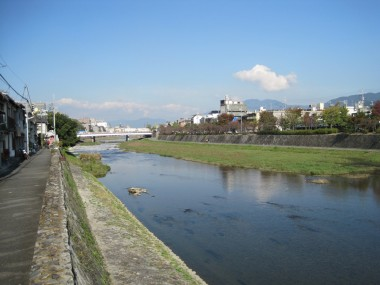 View up the Kamo River in Kyoto, Japan around the corner from our house in the Gojo neighborhood.