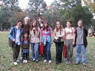 Worldschool Travel Tour: Japan 2009 - the group with Satoru and Yuni in the Harajuku Park.