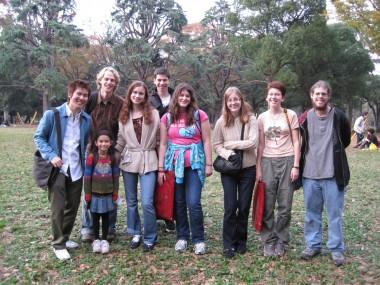 Worldschool Travel Tour: Japan 2009 - the group with Satoru and Yuni in the Harajuku Park.