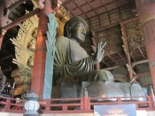 "The Daibutsuden, ""Great Buddha"" housed in the Todaiji Temple in Nara, Japan. One of the largest statues of the Buddha in the world, inside what may be the largest wooden structure in the world."