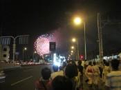 Yodogawa Fireworks summer festival over the Yodogawa River in Osaka, Japan on August 7, 2010.