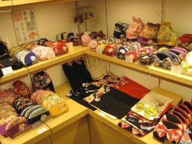 Various bags and purses made from beautiful fabric from a shop in Kyoto called the Chiri-Men Craft Museum.