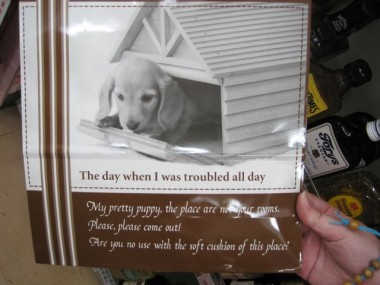 "An excellent example of Japanese English, aka ""Engrish"" or ""Japanenglish"" found on a bag sold at a convenience store in Osaka, Japan: The day when I was troubled all day: My pretty puppy, the place is not your rooms. Please, please come out! Are you no use with the soft cushion of this place?"""