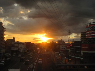Setting sun on one of our last evenings in Japan on a train from Osaka to Kyoto.