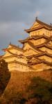 The sun setting on Himeji-jo Castle.